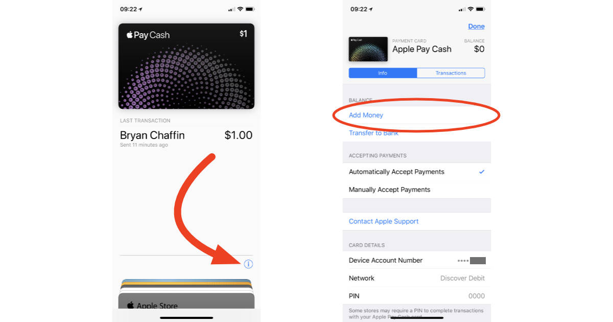 Apple Pay Cash card settings in the Wallet app on iPhone