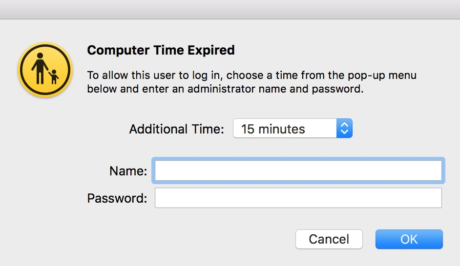 """""""Add More Time"""" Dialog"""