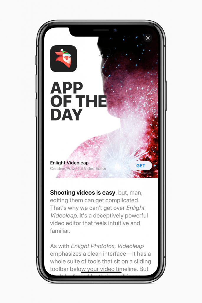 Image of Enlight Videoleap, part of the App Store 2017 sales.
