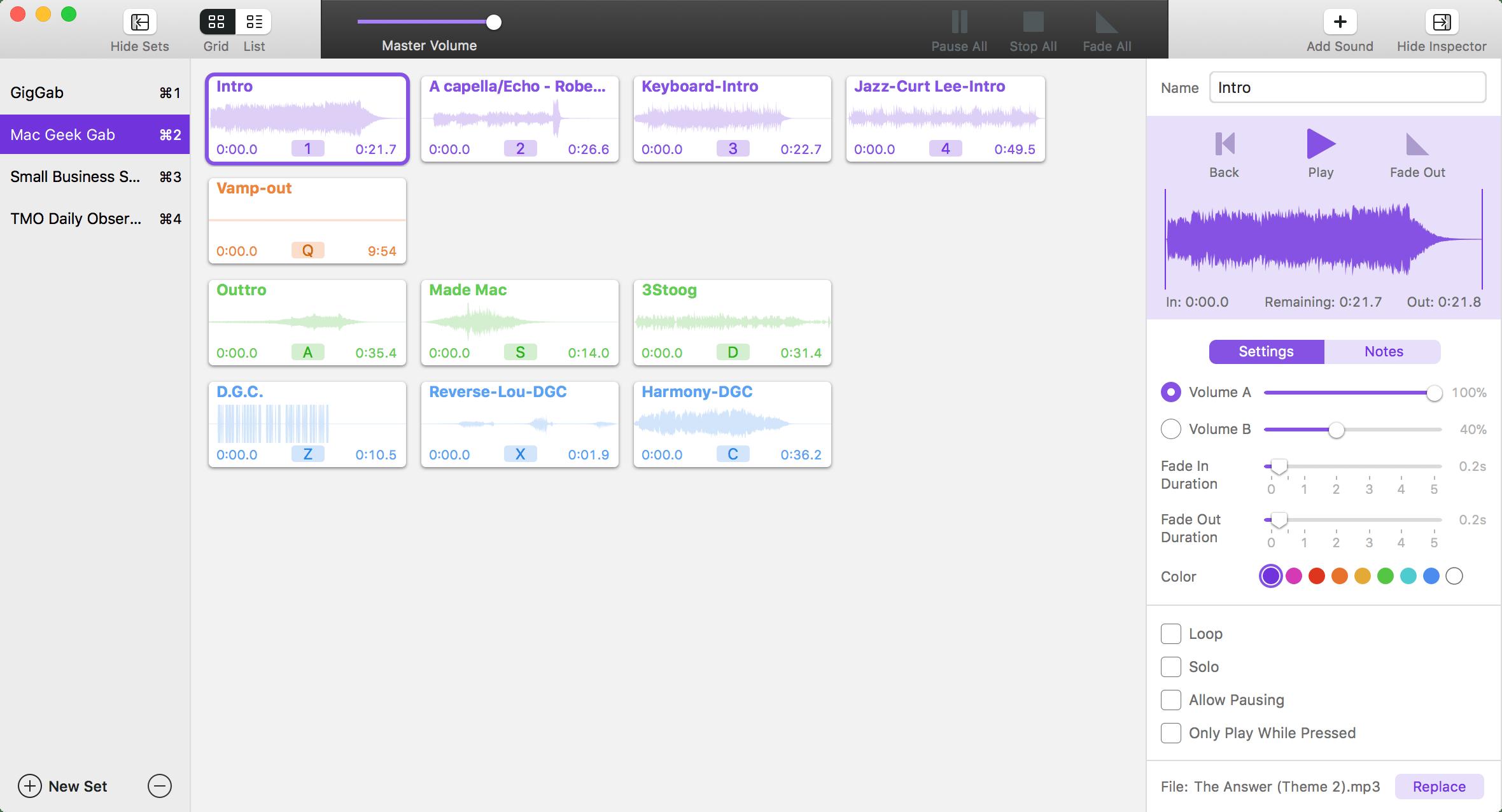 Farrago screenshot with Mac Geek Gab set showing