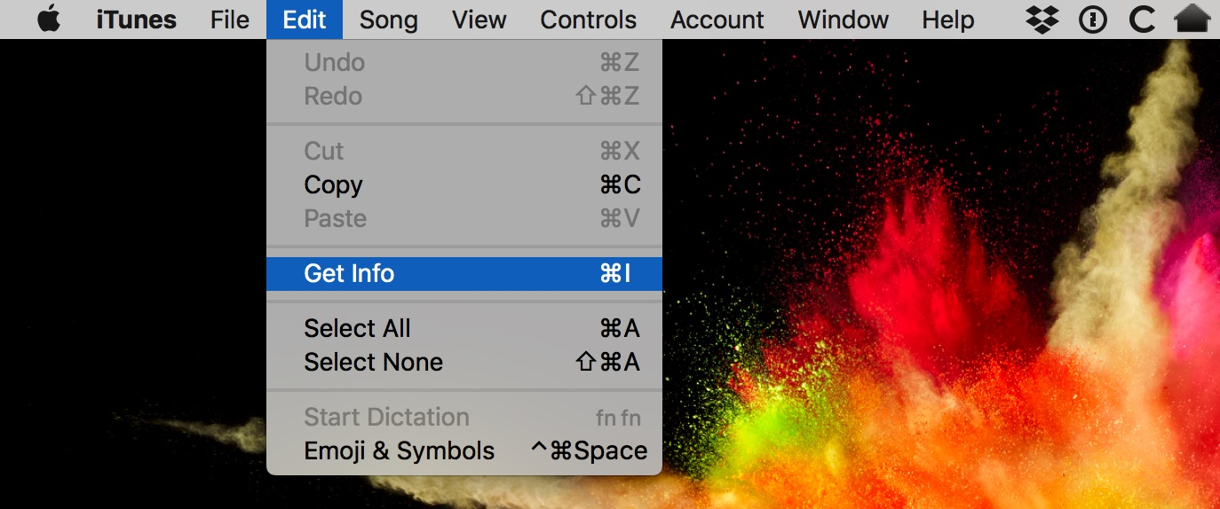 iTunes Edit Menu showing Get Info option for skipping a song in Shuffle mode