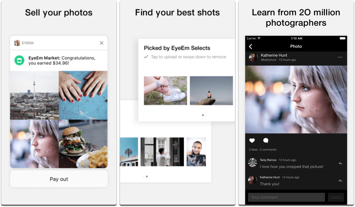 Screenshots of EyeEm, one of the Instagram alternatives.