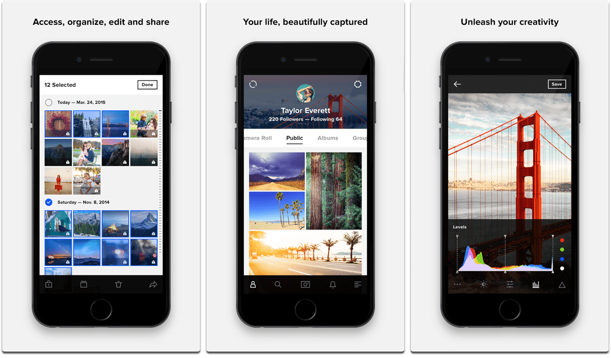 Screenshots of Flickr, one of the Instagram alternatives.