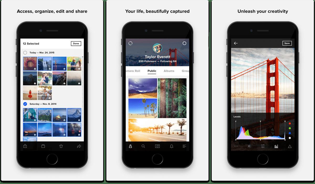 Screenshots of Flickr, one of the Instagram alternatives.