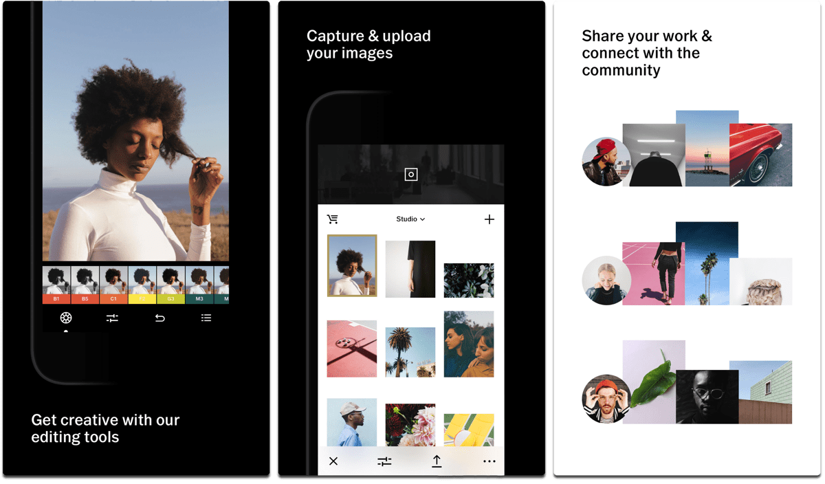 Screenshots of VSCO, one of the Instagram alternatives.