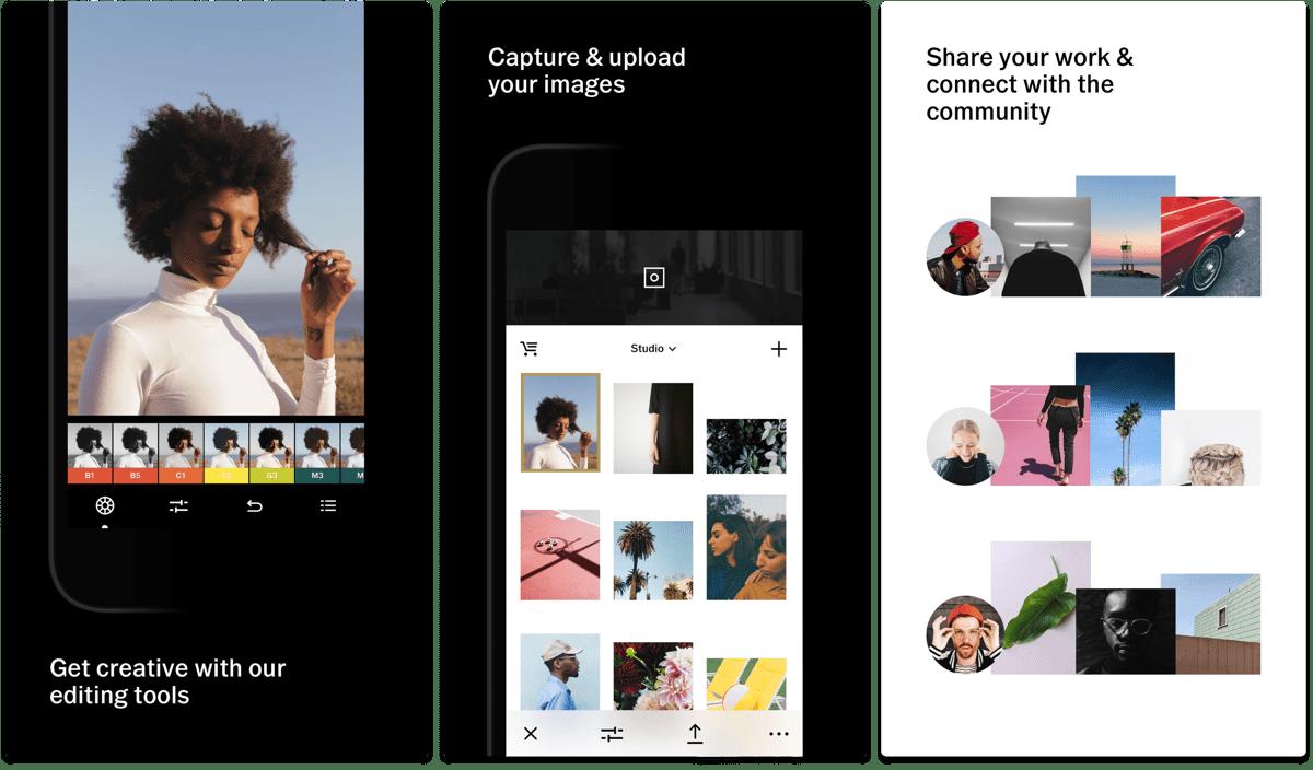 Screenshots of VSCO in our list of Facebook app alternatives.