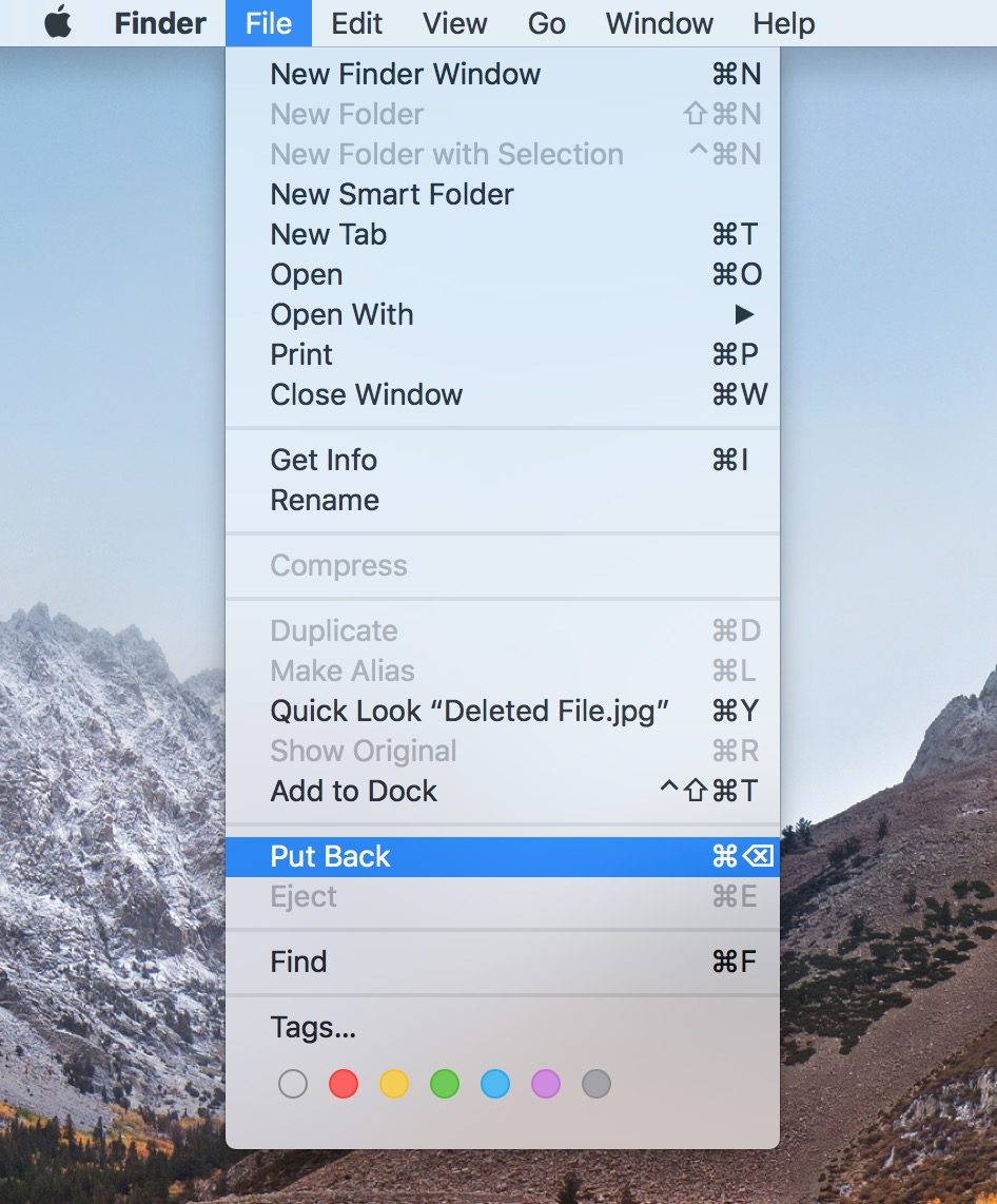 """Put Back"" Under macOS File Menu"
