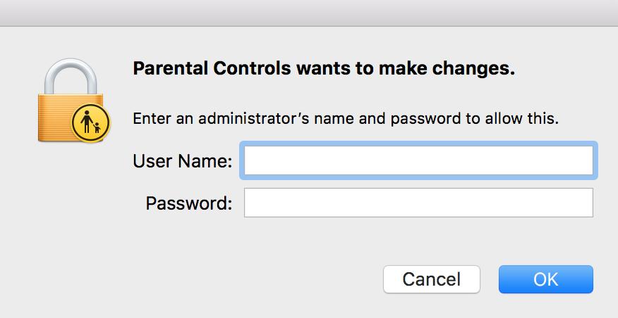 """Enter Admin Password to Make Changes"" Box"