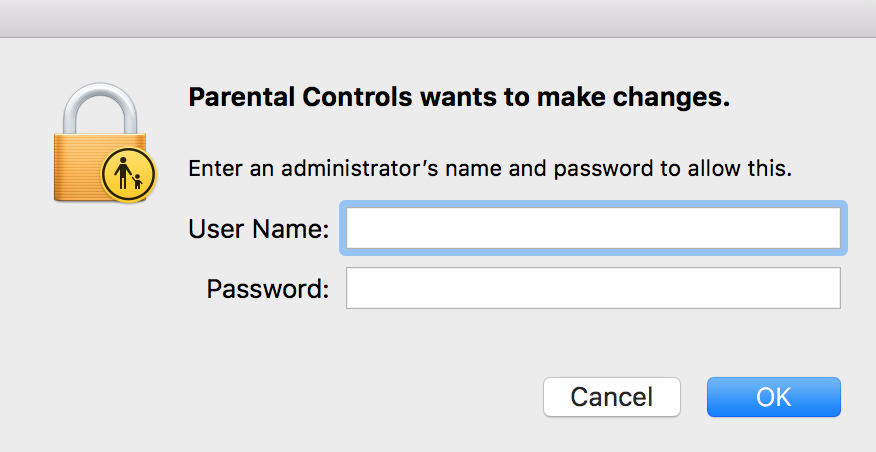 """Enter Admin Password to Make Changes"" Box"