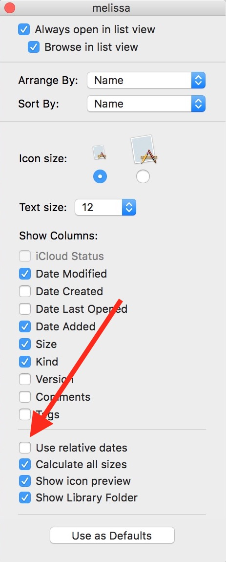 """""""Use relative dates"""" Box in Finder view settings"""
