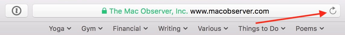 Toolbar in Safari with reload page button