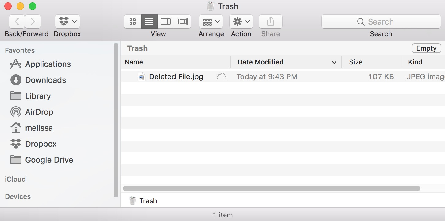 Deleted File in macOS Trash