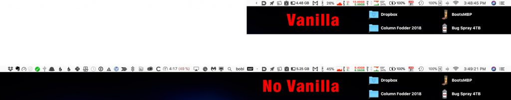 This is my menubar with and without Vanilla... Any questions?