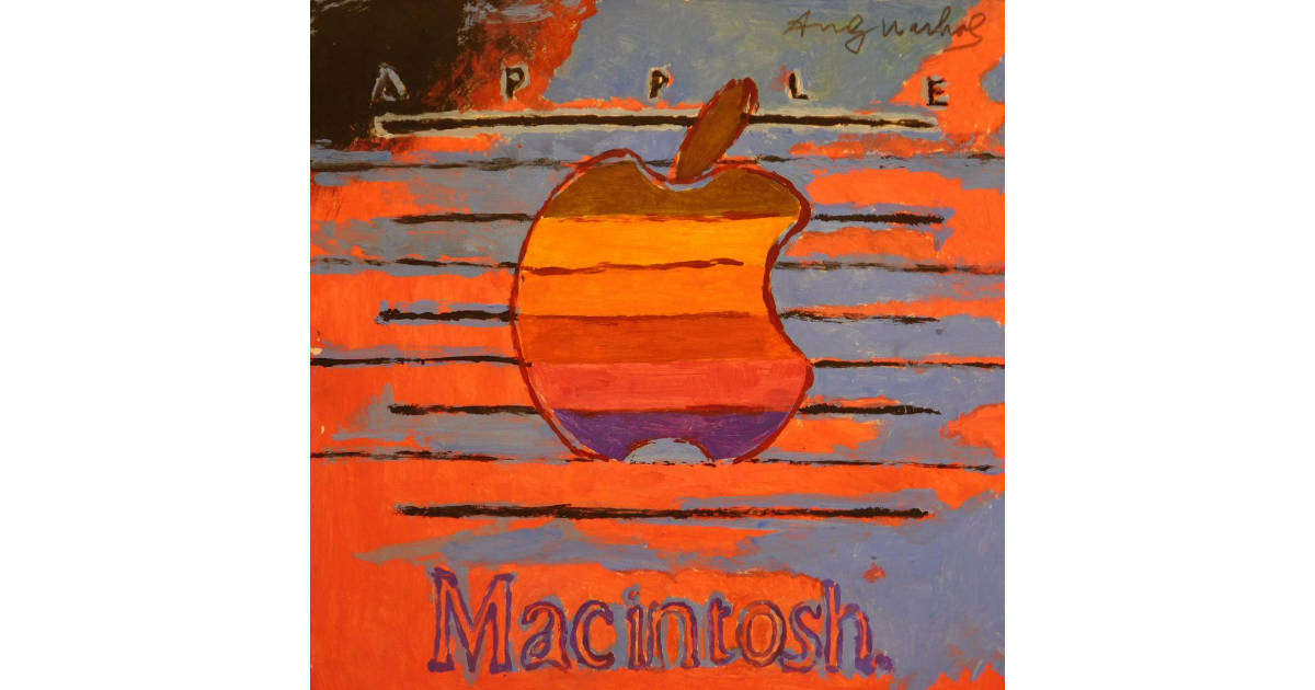 Original Andy Warhol Apple logo painting from 1985