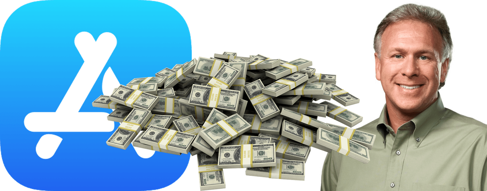 image of phil schiller, app store icon, and cash pile