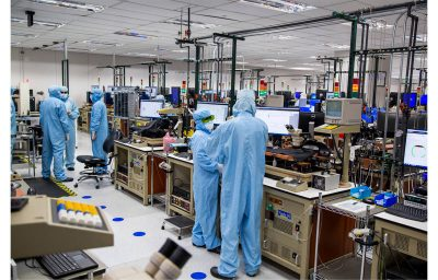 Factory workers in Finisar VCSEL manufacturing facility in Texas