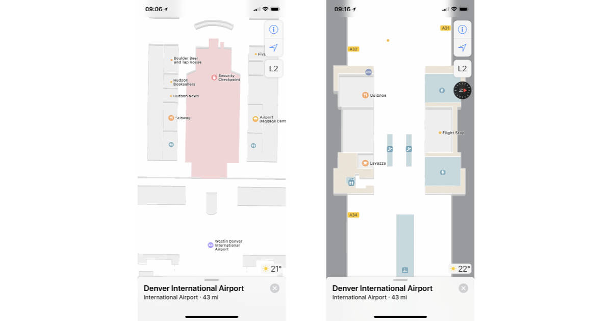 Apple Maps showing airport interior