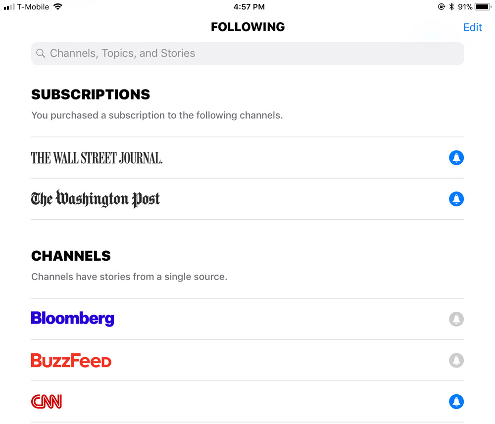 Apple News Subscriptions Screenshot