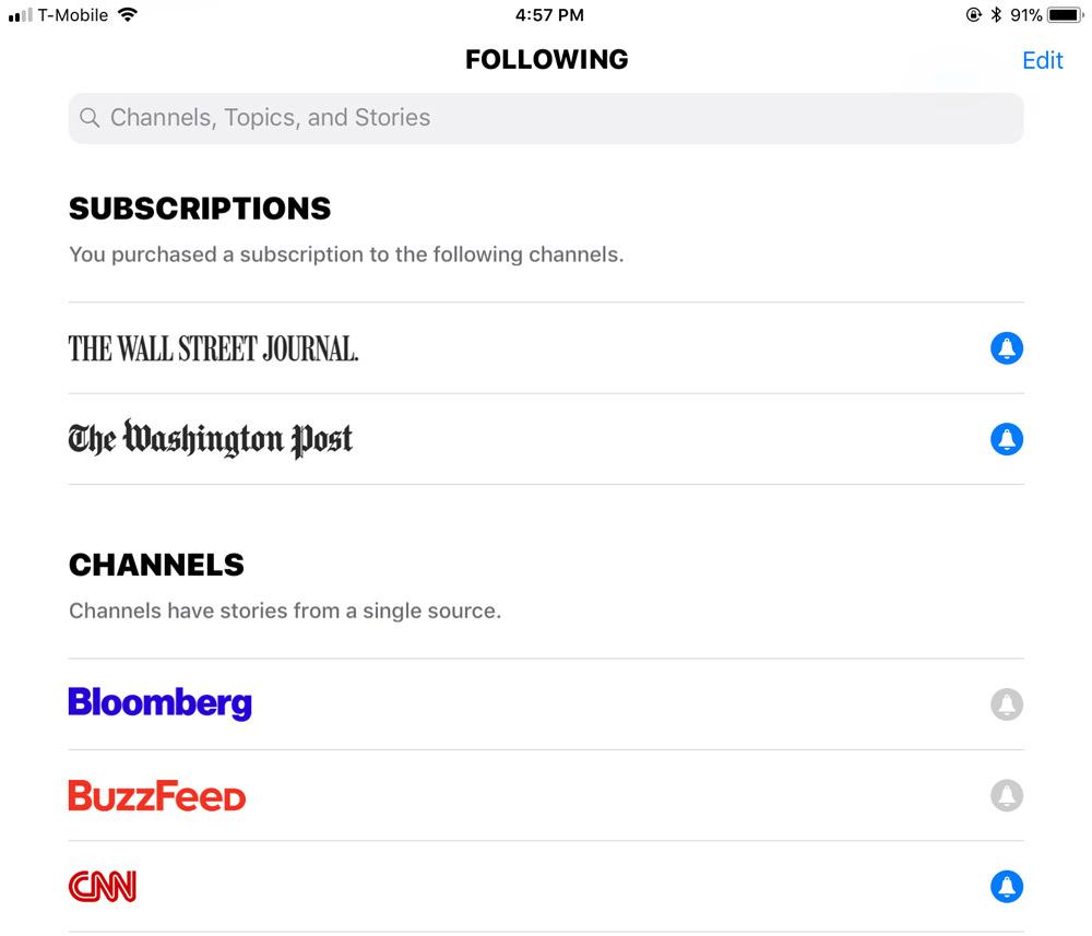 Apple News Subscriptions Screenshot