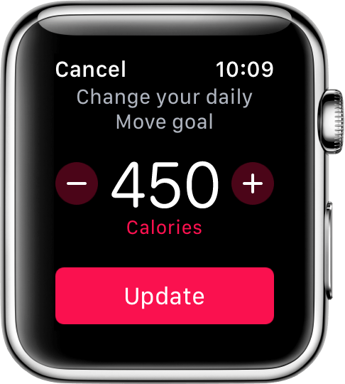 Image of the Apple Watch activity goals, and how to change it.