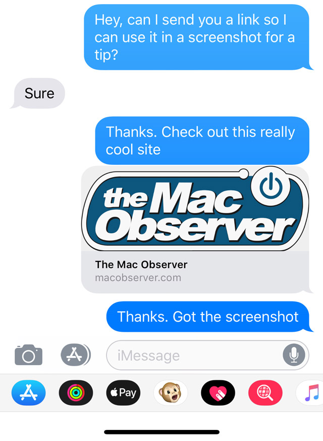 Tapping a URL in iMessage