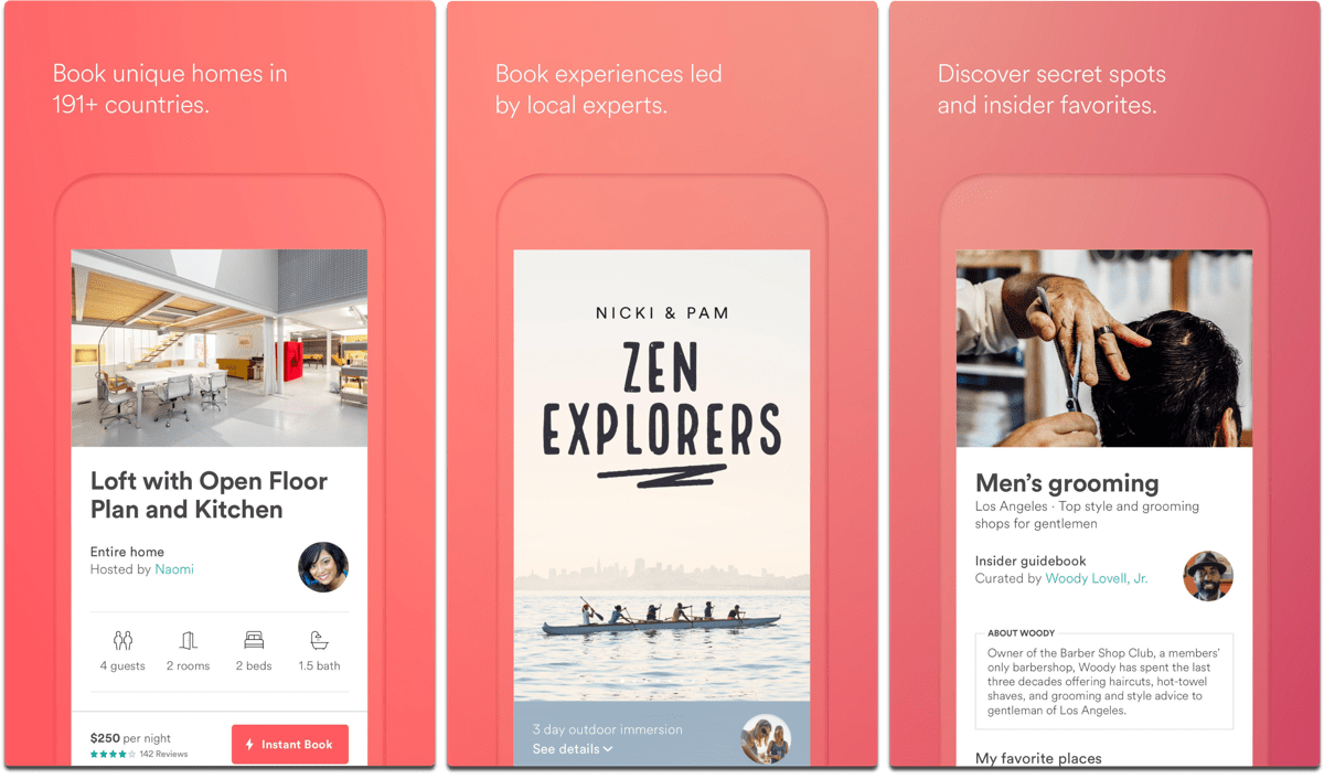 Screenshots of Airbnb, one of the civil rights apps.