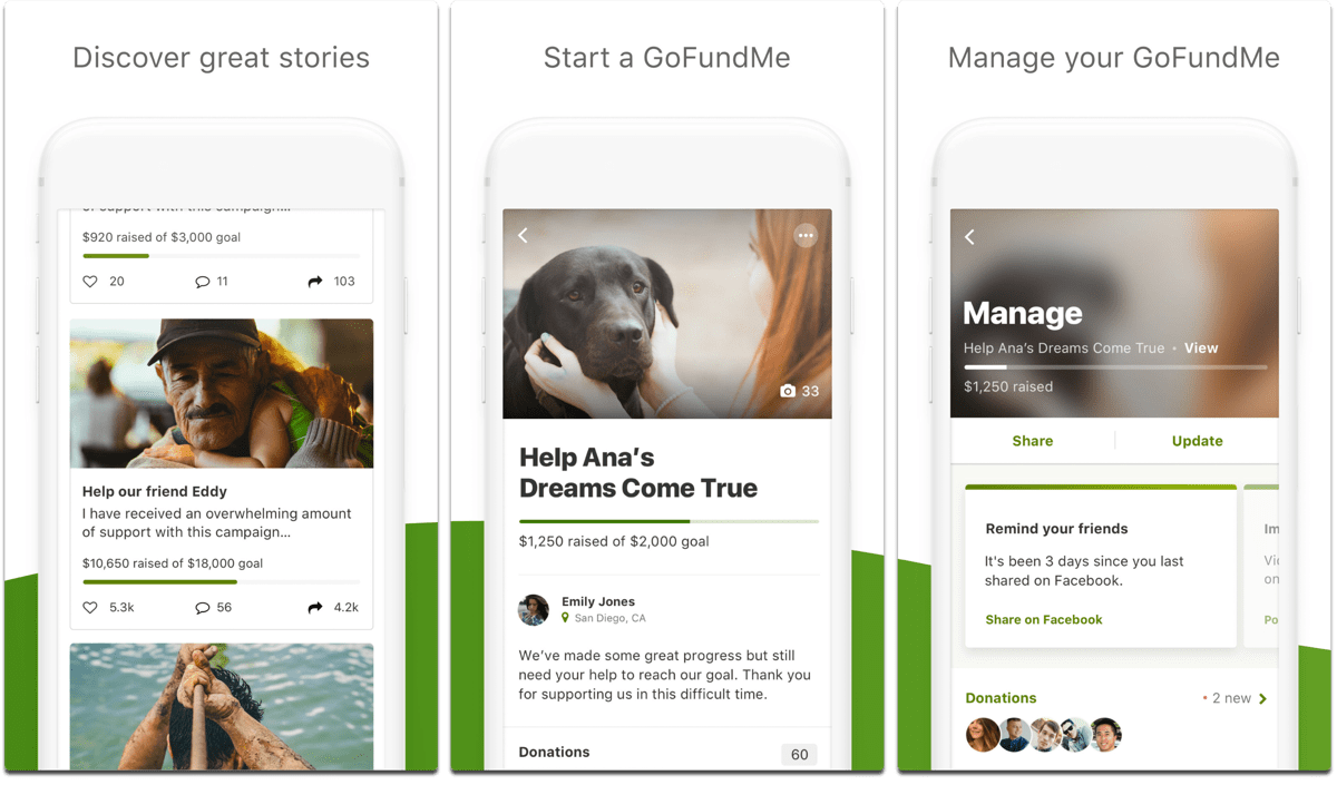 Screenshots of GoFundMe, one of the civil rights apps.