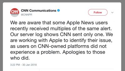 CNN Apology Tweet for Apple News Notifications