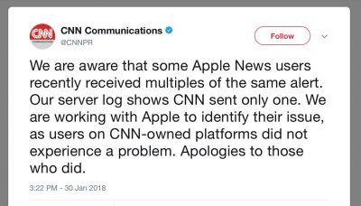 CNN Apology Tweet for Apple News Notifications