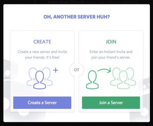 screenshot of Discord server creation screen