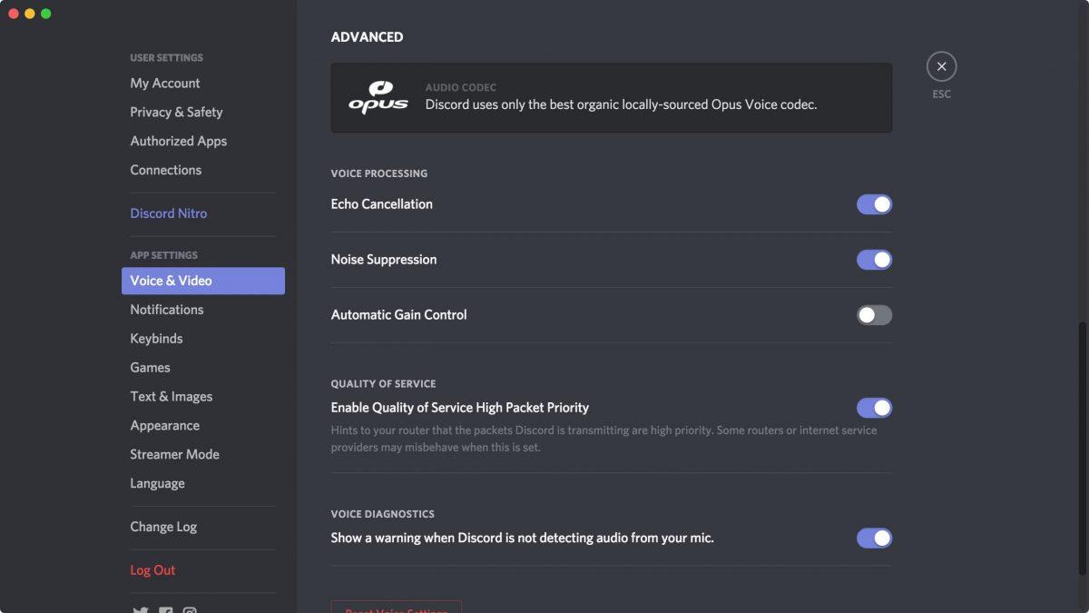 Discord's Advanced Audio Settings