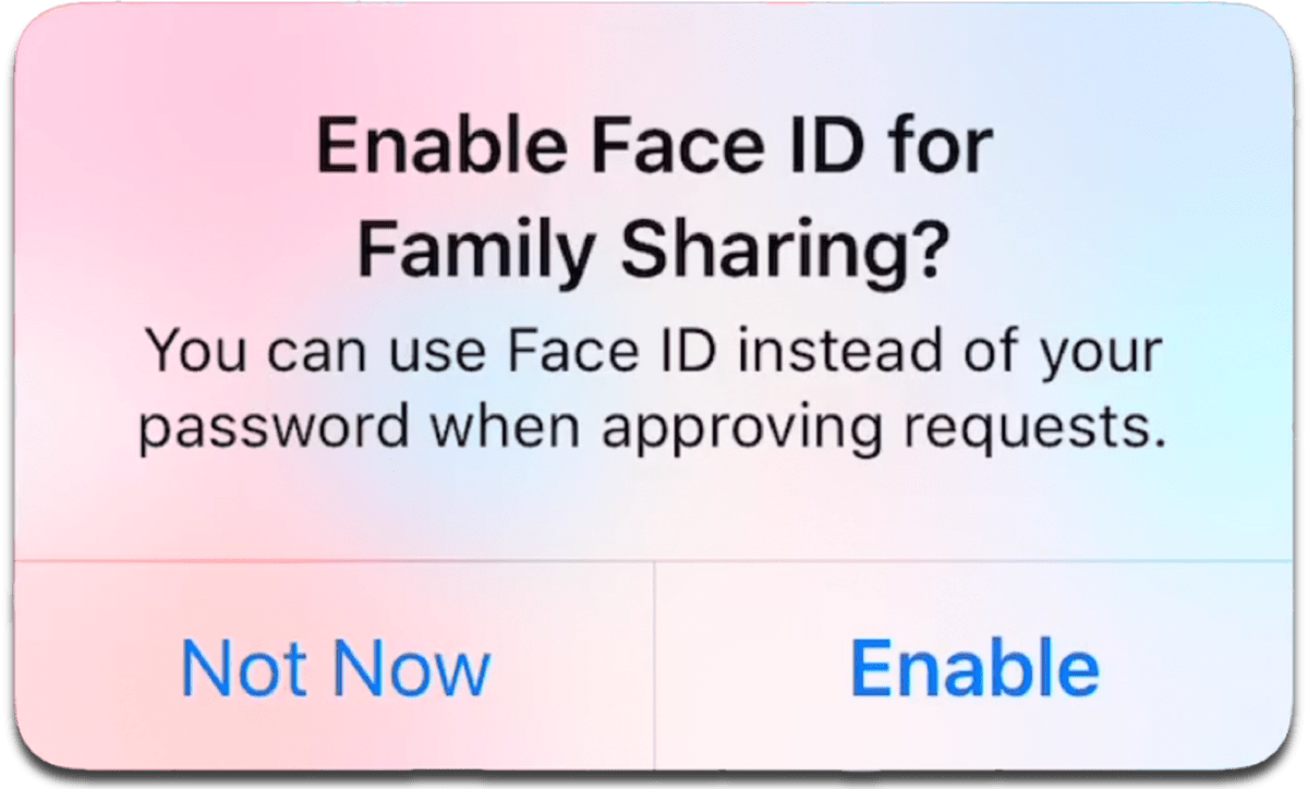 iOS 11.3 prompt to use Face ID for family sharing.