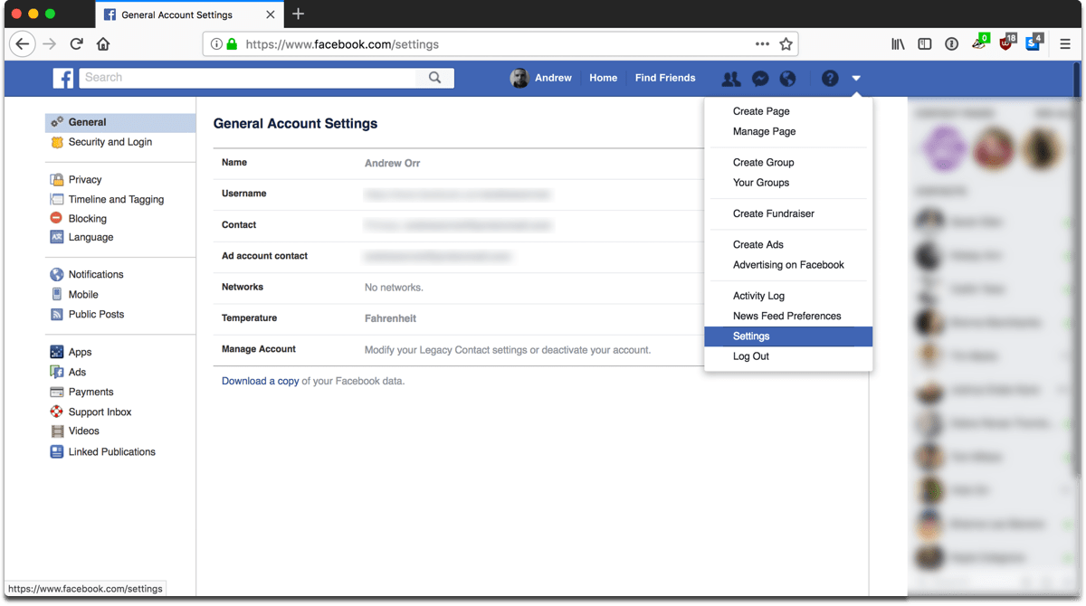 Screenshot of going into settings to control Facebook privacy settings.