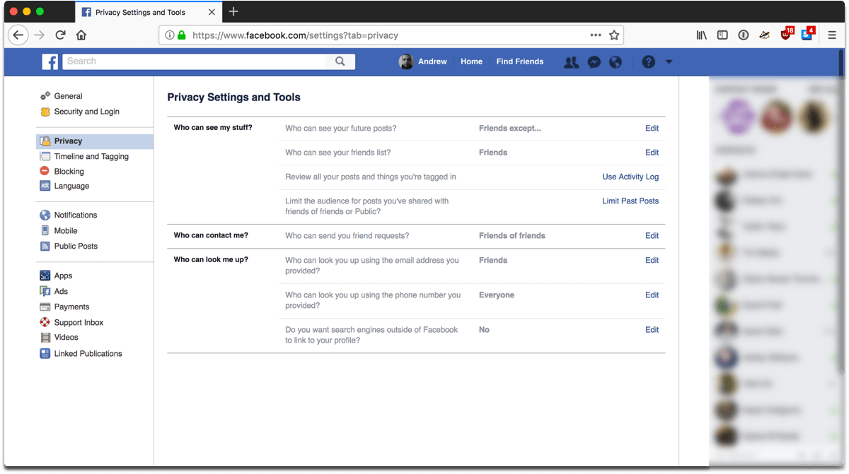 Screenshot of Facebook privacy settings and tools.