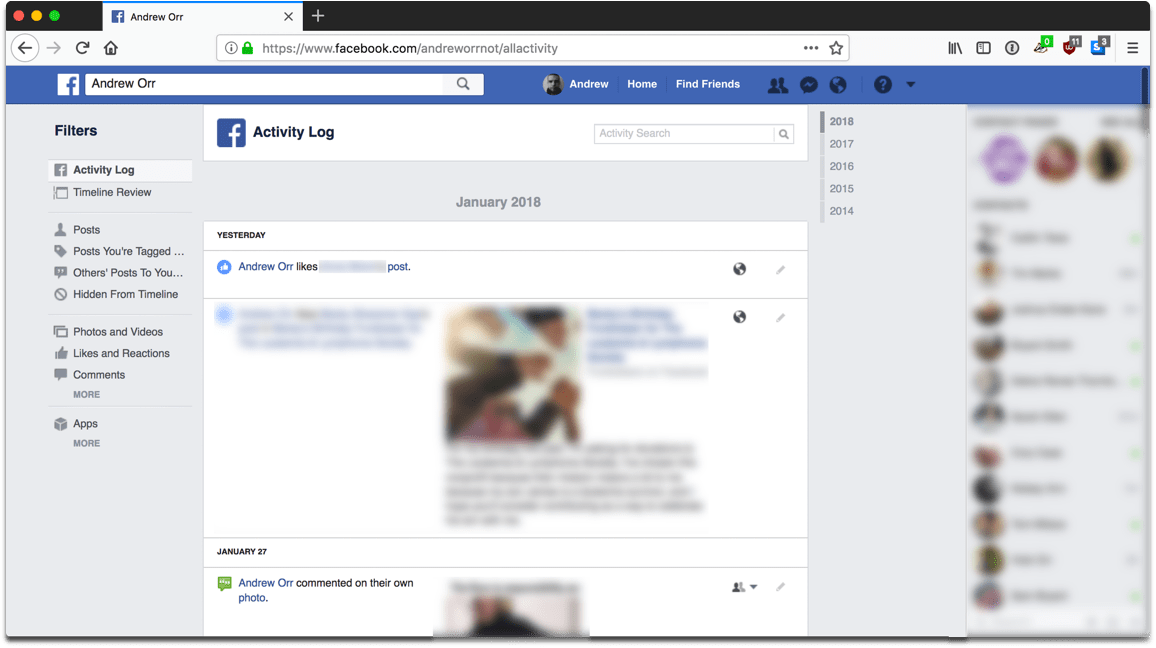 Screenshot of the activity log in Facebook privacy settings.