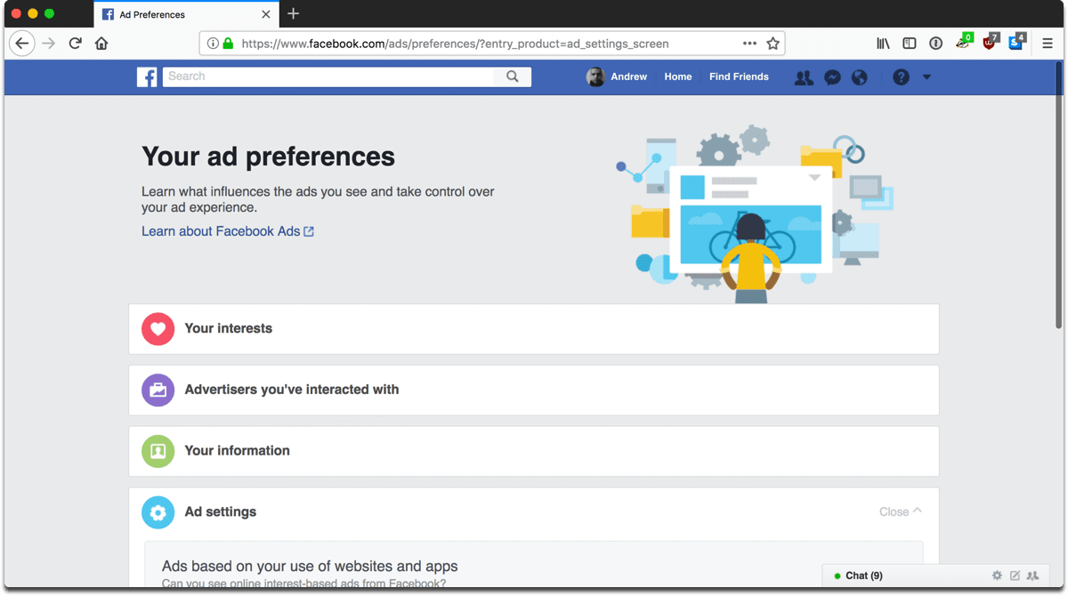 Screenshot of ad preferences in Facebook privacy settings.