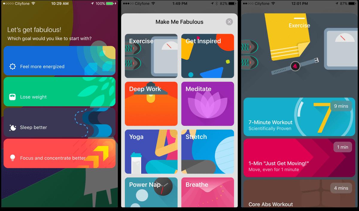 Screenshots of fitness resolution app Fabulous.