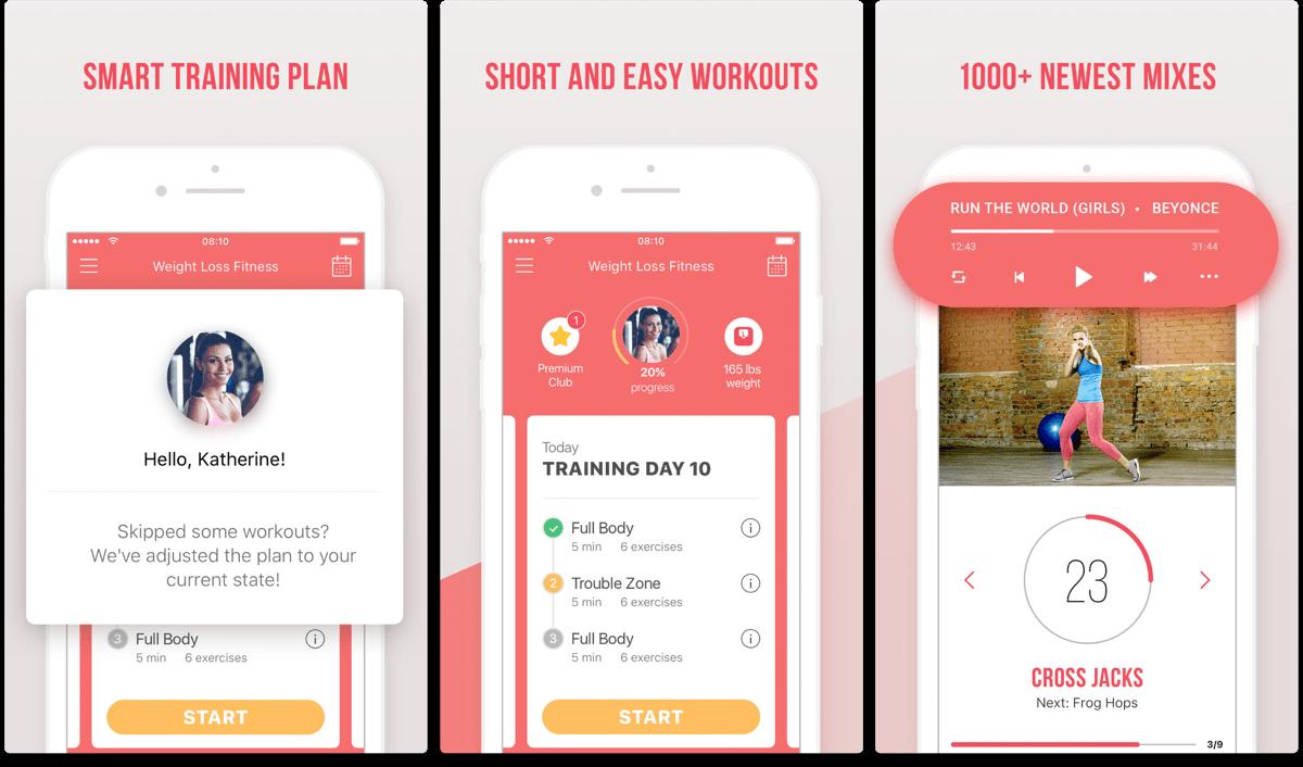 Screenshots of fitness resolution app Weight Loss Fitness.