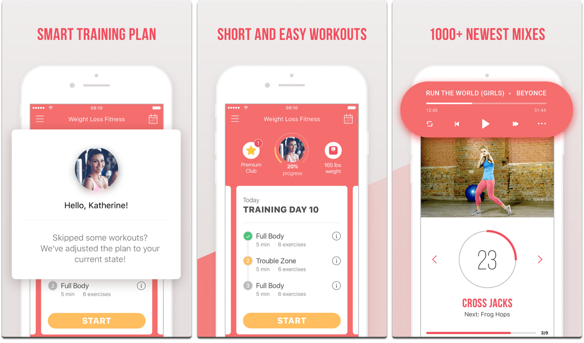 Screenshots of fitness resolution app Weight Loss Fitness.