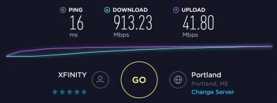 XFINITY Gigabit DOCSIS 3.1 Speed Test with No Bufferbloat