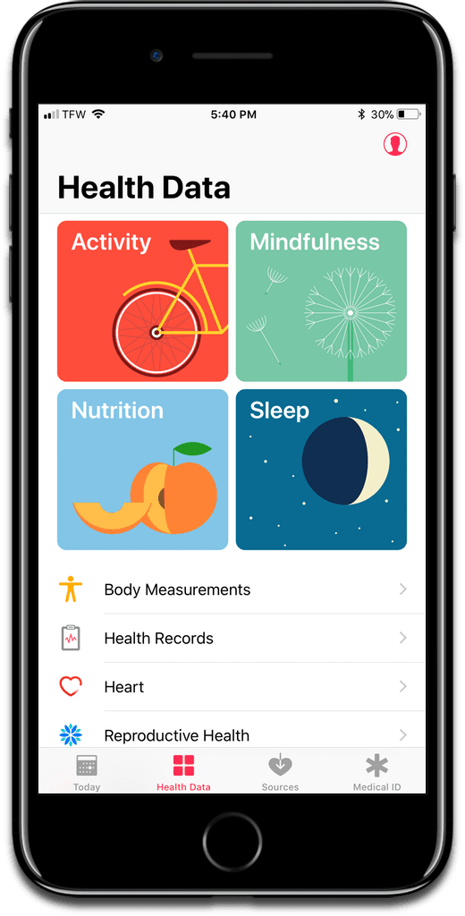 Image of Apple's Health app, which contains a person's health data.