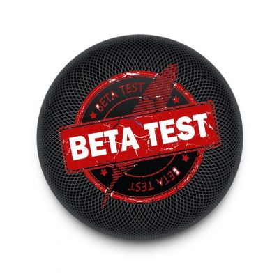 HomePod with Beta Test Logo