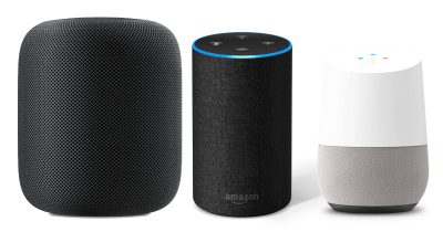 Apple HomePod, Amazon Echo, Google Home smart speakers