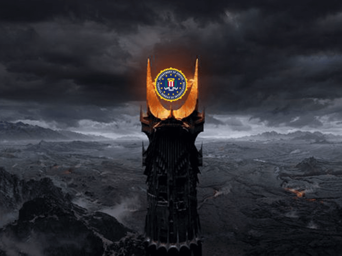 Image of eye of sauron with FBI logo. The FBI says that iOS encryption makes it difficult for the agency to do its job.