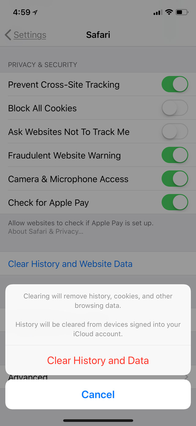 Clear History and Data in iOS 11