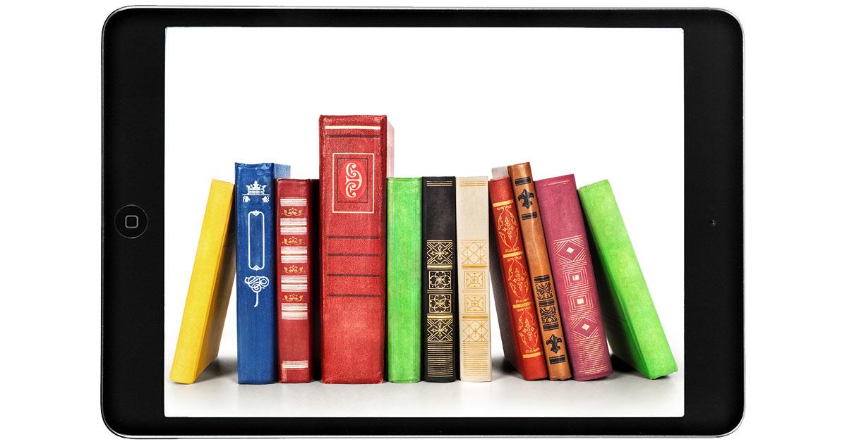 iPad with books on screen