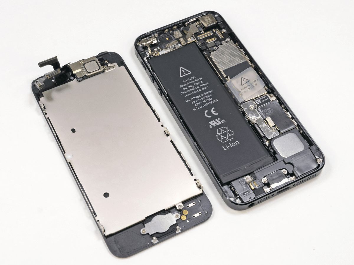 Image of an iPhone taken apart to show the battery. iPhone batteries are at the heart of a new issue.