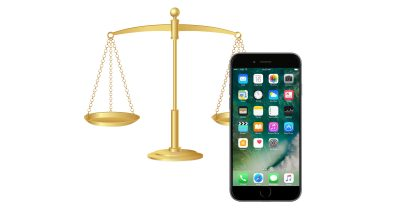 iPhone with justice scales