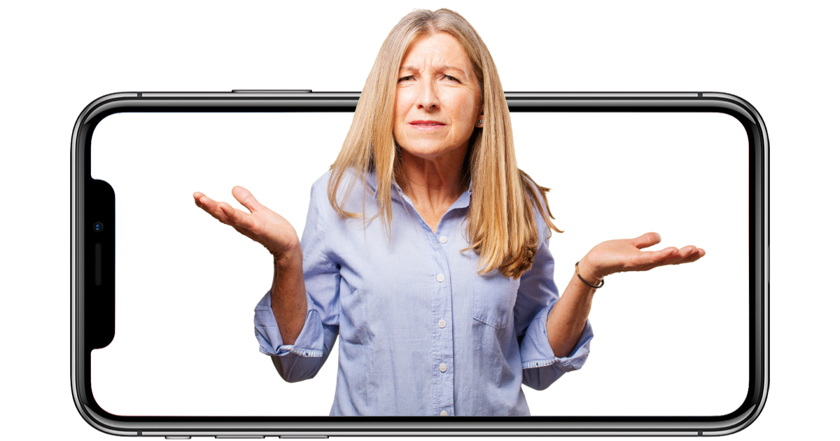 Confused woman and iPhone X