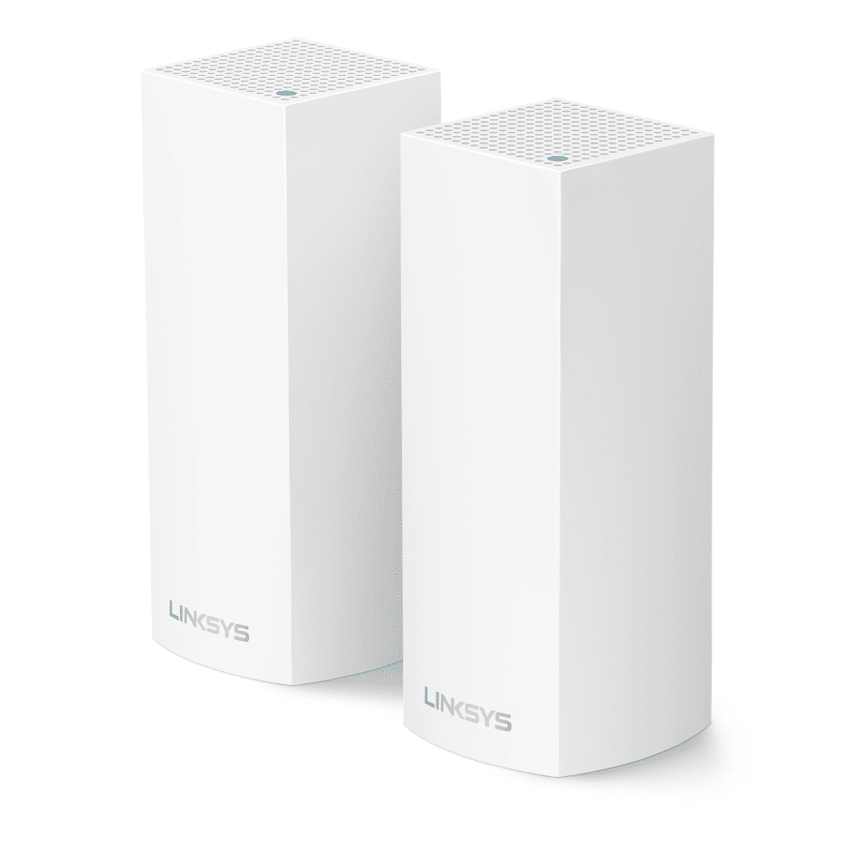 Image of two Linksys Velop mesh routers.